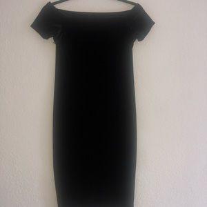 Velvet off shoulder black dress/knee length